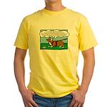 Tracking Corgi Cartoon Yellow T-Shirt