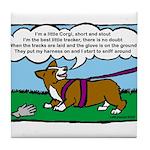 Tracking Corgi Cartoon Tile Coaster