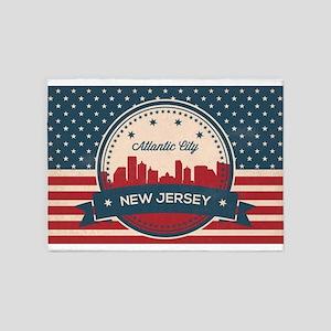 Atlantic City New Jersey Retro Skyl 5'x7'Area Rug