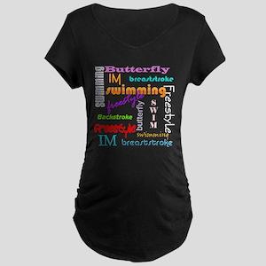 Swimming Everywhere Maternity Dark T-Shirt