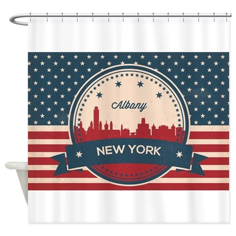 Albany New York Retro Skyline Shower Curtain by ADMIN_CP132351527