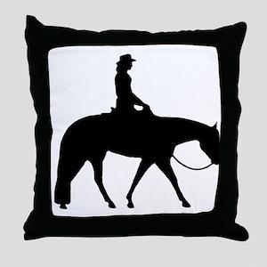 Western silhouette female Throw Pillow
