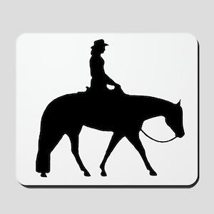 Western silhouette female Mousepad