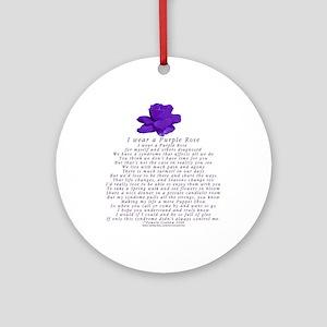 I Wear a Purple Rose Ornament (Round)