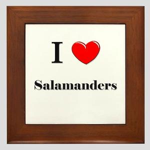 I Love Salamanders Framed Tile