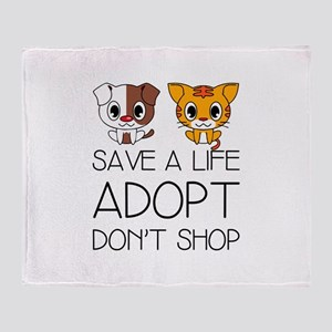 Adopt Don't Shop Throw Blanket