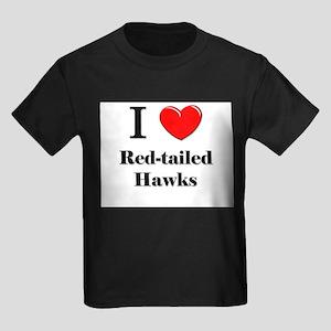 I Love Red-tailed Hawks Kids Dark T-Shirt