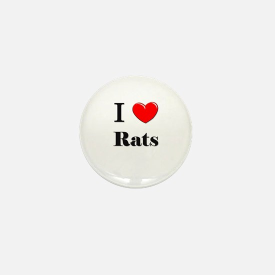 I Love Rats Mini Button