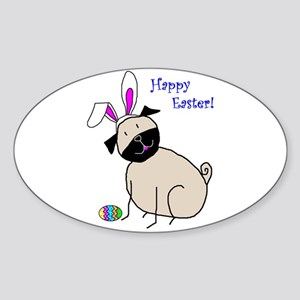 Easter StickPug (Fawn) Oval Sticker