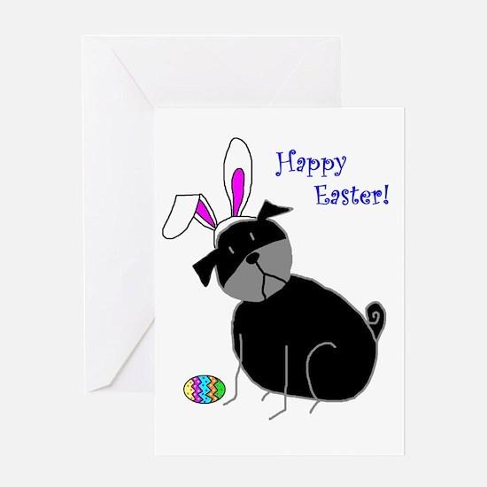 Easter StickPug (Black) Greeting Card