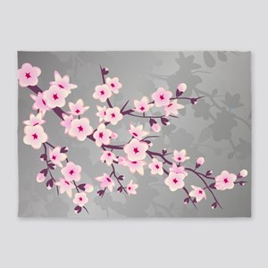 Cherry Blossoms Pink Gray Shimmerin 5'x7'Area Rug