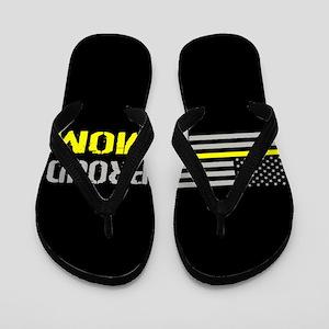 U.S. Flag Yellow Line: Proud Mom (Black Flip Flops