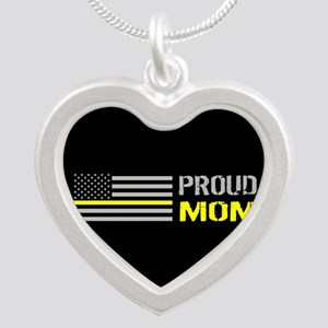 U.S. Flag Yellow Line: Proud Silver Heart Necklace
