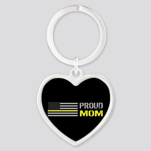 U.S. Flag Yellow Line: Proud Mom (B Heart Keychain