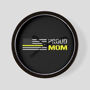 U.S. Flag Yellow Line: Proud Mom (Black Wall Clock