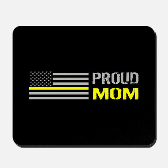 U.S. Flag Yellow Line: Proud Mom (Black) Mousepad