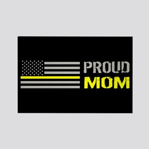 U.S. Flag Yellow Line: Proud Mom Rectangle Magnet