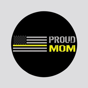 U.S. Flag Yellow Line: Proud Mom (Black) Button