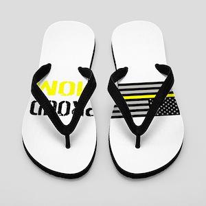 U.S. Flag Yellow Line: Proud Mom (White Flip Flops