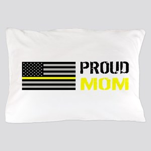 U.S. Flag Yellow Line: Proud Mom (Whit Pillow Case