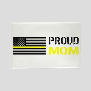 U.S. Flag Yellow Line: Proud Mom Rectangle Magnet