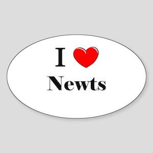I Love Newts Oval Sticker