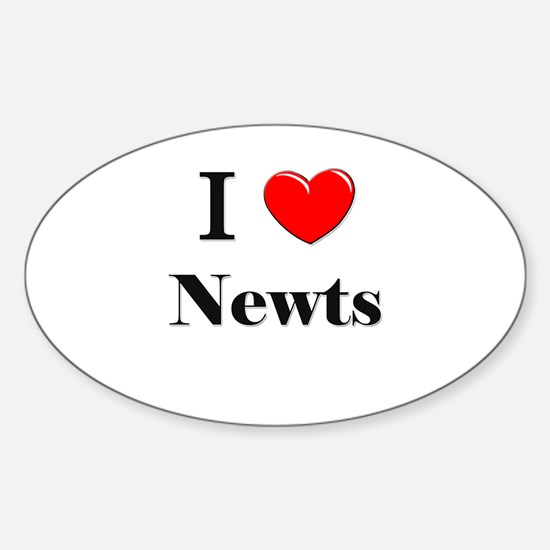 I Love Newts Oval Decal