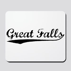 Vintage Great Falls (Black) Mousepad