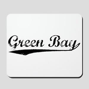 Vintage Green Bay (Black) Mousepad