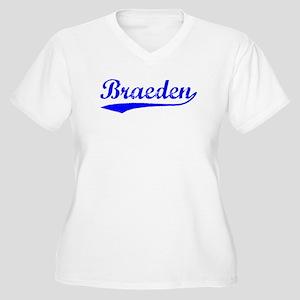 Vintage Braeden (Blue) Women's Plus Size V-Neck T-