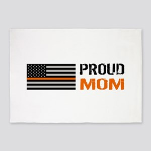 U.S. Flag Orange Line: Proud Mom (W 5'x7'Area Rug
