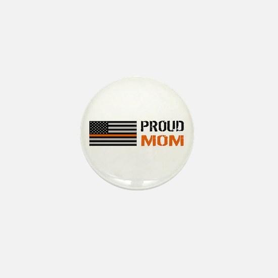 U.S. Flag Orange Line: Proud Mom (Whit Mini Button