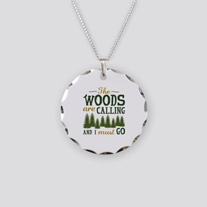The Woods Are Calling Necklace Circle Charm