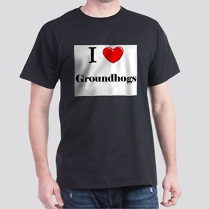 I Love Groundhogs Dark T-Shirt