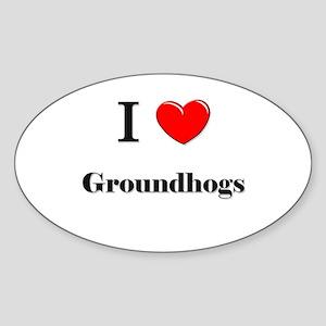 I Love Groundhogs Oval Sticker