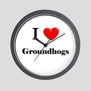 I Love Groundhogs Wall Clock
