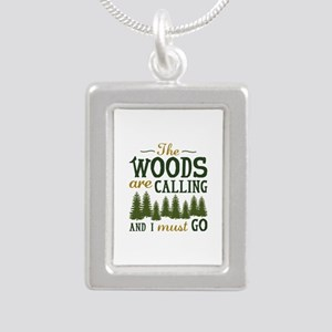 The Woods Are Calling Silver Portrait Necklace