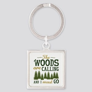 The Woods Are Calling Square Keychain