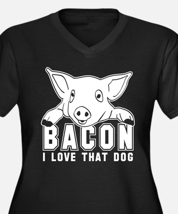 Bacon - I love that Dog! Women's Plus Size V-Neck