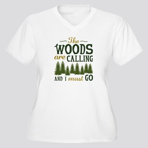 The Woods Are Calling Women's Plus Size V-Neck T-S