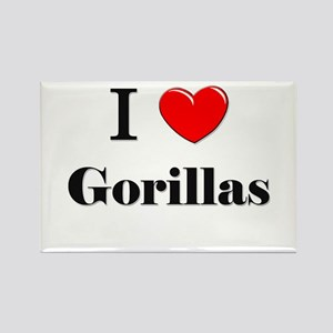 I Love Gorillas Rectangle Magnet