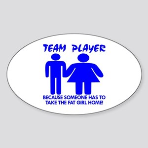 Team Player Takes Oval Sticker
