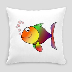 Happy Rainbow Fish Everyday Pillow