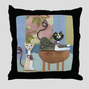 Swanky Inside Cats Throw Pillow