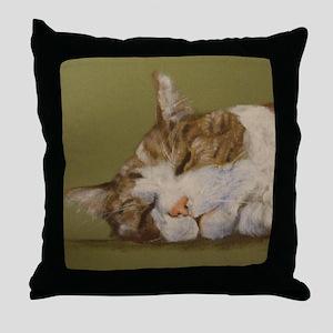 Sleeping Tabby Throw Pillow