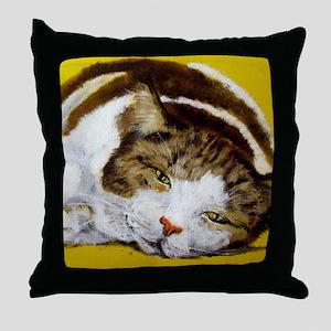 Lazy Tabby Throw Pillow