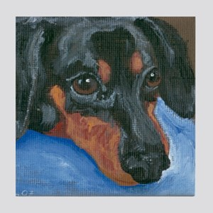Waiting Dachshund Tile Coaster