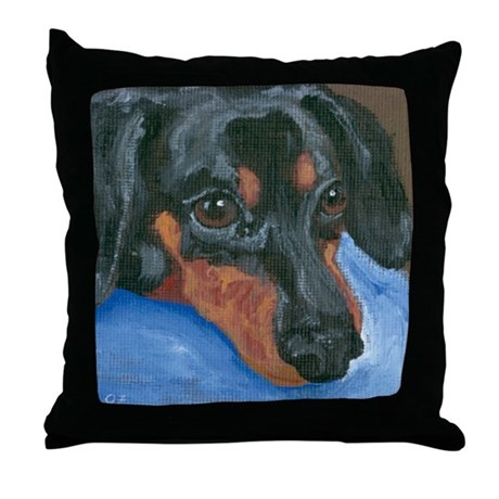 Waiting Dachshund Throw Pillow