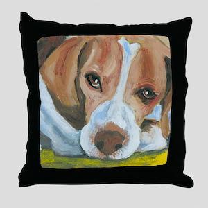 Waiting Beagle Throw Pillow