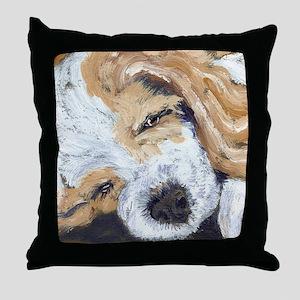 Sleepy Cocker Pup Throw Pillow